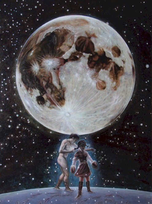 刘立志油画《伊甸月之影》: 显影在月亮之上的一对恋人
